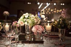 Taças de vidro com velas