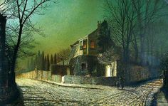 John Atkinson Grimshaw - Yew Court, Scalby, near Scarborough, 1875 - Scarborough Art Gallery Paintings I Love, Your Paintings, Landscape Paintings, Nocturne, Atkinson Grimshaw, Moonlight Painting, Art Uk, Leeds, Art And Architecture