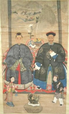 CHINESE ANSESTOR SCROLLS | Chinese Scroll Ancestors Painting 19th Century : Lot 342