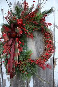 pine, plaid, & red berries on grapevine (from Sweet Something Designs)