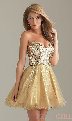 Short Gold Party Dress by Night Moves 6498  at PromGirl.com