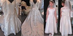 A First Holy Communion dress made from the mother's wedding gown. I hated to cut up this Lady Di delight, but I was very happy with the end result.  The young lady specified the sleeveless design with the sheer bodice.  By irishandmore.etsy.com
