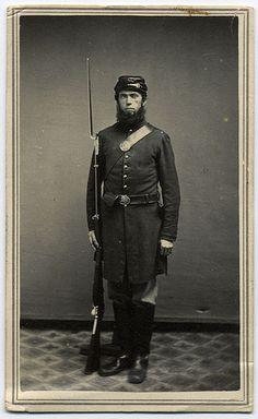 Federal Infantryman Holding Musket.