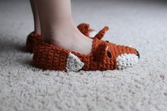 Instant Download  Crochet Pattern  Fox Slippers Child by Mamachee, $5.50