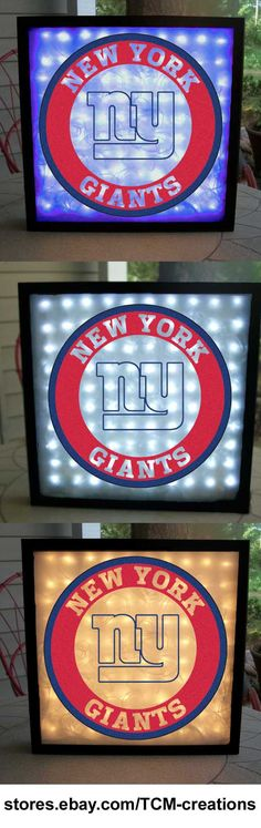 NFL National Football League New York Giants shadow boxes with LED lighting & multiple colored vinyl decals