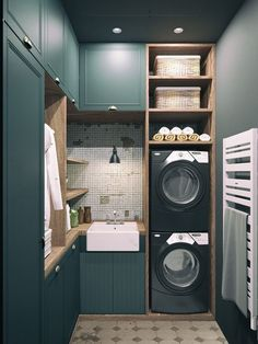 laundry area: stacked w/d and apron sink with cabinets and open shelves