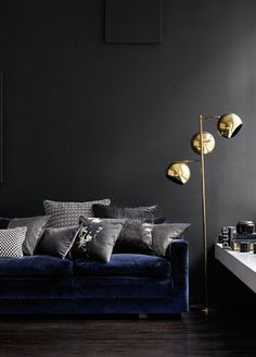 bossy color   Annie Elliott Interior Design   Black and blue (and brass): 2014′s edgy color combo   http://bossycolor.com