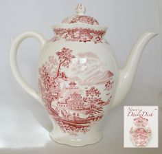 SEAFORTH~ ENOCH WOOD & SONS Tall Tea Pot / Coffee Pot For consideration is this large sized transferware teapot or coffeepot by Wood and Sons in the Seaforth pattern. The scene is an oriental motif',
