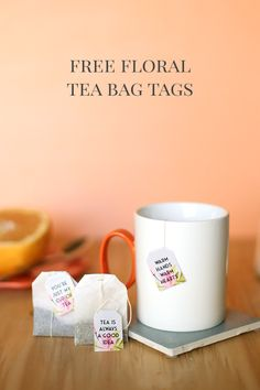 Free Floral Printable Tea Bag Tags for Easy, Pretty DIY Holiday Party Entertaining or Gift Baskets