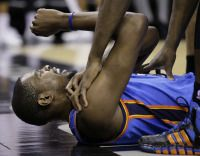 Kevin Durant out with injury, putting Oklahoma City Thunder in uncharted territory- http://getmybuzzup.com/wp-content/uploads/2014/01/247258-thumb.jpg- http://getmybuzzup.com/kevin-durant-injury-putting-oklahoma-city-thunder-uncharted-territory/- By Dan Feldman BOSTON – For the first time in the 492-game history of the Oklahoma City Thunder, they will play without Kevin Durant and Russell Westbrook. With Westbrook already sidelined with a knee injury, a sore shoulder will p