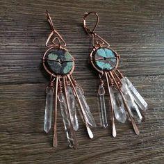 Turquoise & Quartz Earrings by #reworkcreative #jewelryartist #wearableart #handcrafted #ooak #jewelry #etsy