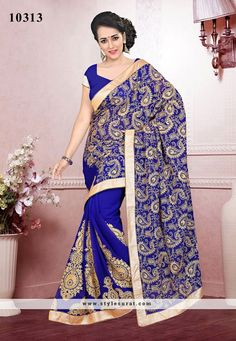 Hypnotic Royal Blue Embroidery Work Wedding Saree