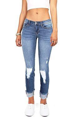 Sneak Peak Women's Juniors Cropped Ankle Jeans w Knee Rips (5, Denim) ❤ ...