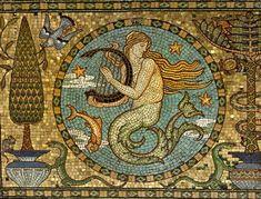 The Salviati Architectural Mosaic: Leighton House, Kensington - Walter Crane Detail of the gold mosaic floor, c. 1881 x cm) Walter Crane, Vintage Mermaid, Mermaid Art, Leighton House Museum, Art Romain, Graffiti, Art Quiz, Mermaid Illustration, Art Antique