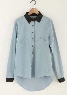 Long Sleeve Asymmetrical Denim Shirt