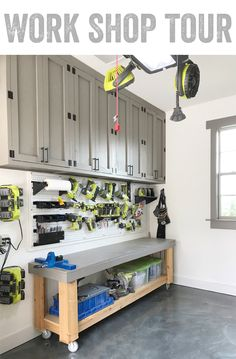 Come check out this Work Shop Tour! We are covering everything from what you need to get your own Work Shop started, our favorite additions and the free plans to build your own cabinet, work benches and lumber storage! Find us at www.shanty-2-chic.com diy work bench, diy lumber cart, work shop organization, garage organization via @shanty2chic
