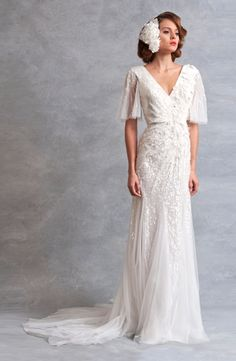 V-Neck Sheath Wedding Dress  with Natural Waist in Organza. Bridal Gown Style Number:32838153