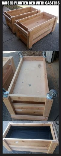 Raised garden planter boxes on wheels / casters - Size is 2 x 4 each, just over 2ft 4 tall with the casters installed on the bottom. Soil depth container is 12 and the bottom?