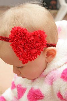Valentine's Bow - Baby Girl - Baby Girl Headband - Valentine's Headband - Heart Headband - Red Headband - Baby Headband - Glitter Headband. $9,50, via Etsy.