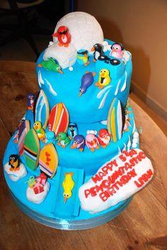 www.oushe.com 043850011 #Penguin #birthday #party cake red velvet #surfboard iceberg #fun #colorful #decorated #cake #funky #oushe #gourmet #bakeshop #dj #delicious #dubai #uae