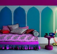 Vivid Moroccan colors. Interesting tapestry. #Moroccan #Tapestry.