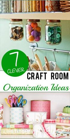 Oh how I would loved an organized craft room! Here 7 Clever Craft Room Organization Ideas to get you started on your way to a fabulous creative space!