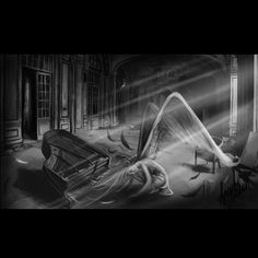 Fallen Angel  #fallen #angel  #fallenangel #feathers #abandoned #room #piano #digitalart #cintiq #wacom