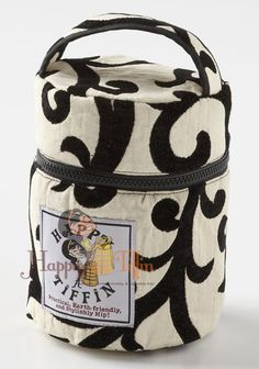 Happy Tiffin, Black/White Insulated Tiffin Carrier Bag - Small
