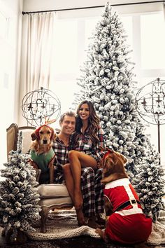 fashion blogger mia mia mine wearing a plaid christmas romper pj set with husband and dogs. click through to see cute matching pajamas for couples on christmas, holiday pjs for the family, matching christmas pjs, and winter pajamas. #christmasoutfit #couplegoals #holidaydecor Matching Christmas Pajamas Couples, Family Christmas Pajamas, Holiday Pajamas, Christmas Couple, Matching Pajamas, Plaid Christmas, Christmas Photos, Merry Christmas, Xmas