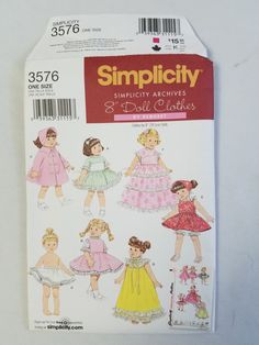 Available is this uncut Simplicity pattern. Features Retro Baby Doll clothes. The old pattern is shown but does not show the number  Style 3576 Size 8 Pattern is for a doll clothes.  The patterns envelope may have some damage.