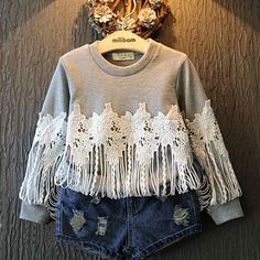 LOOK WHAT'S NEW!!! This sweet 2 pc set is a perfect combination for the Spring... loving the lace and fringe detail mixed with the distressed shorts...