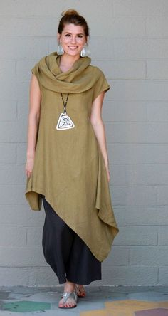 BRYN WALKER Light Linen NOA TUNIC Long Angle Hem Dress S M L XL QUINOA #BRYNWALKER #Tunic #Versatile