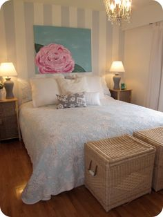 Vintage Bedroom...so PRETTY!!!! Just beautiful. But I would have lavender or light pink stripes on the wall