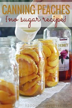 This is a great alternative to canning those peaches without all that sugar!!! ♥ Uses honey instead!- happymoneysaver.com