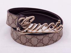 Кожаный ремень Gucci с монограммами, с золотистой пряжкой Gucci #19503