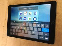 The virtual keyboard on the 9.7-inch iPad Pro.