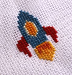 Colorful Rocket Ship Space Cross Stitch Kit by nikkibydesign, $13.00