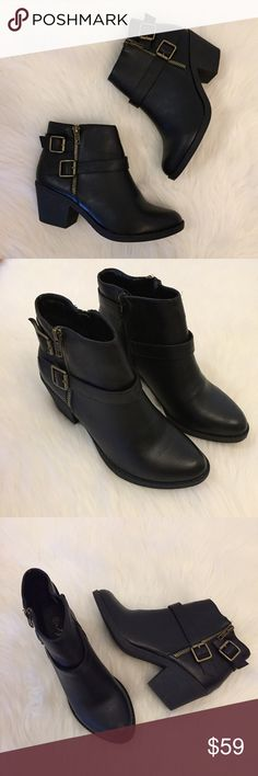 Black Buckle Moro Ankle Boots The perfect ankle boot! Black Double Buckle Zipper Detail Moto Boots. Pebbled Faux Leather. Distressed detailing. Brand new in box. Super comfy. Padded inside and sole. Perfect for fall and winter. Faux leather. 2.5 in. heel. Inside zip closure. True to size. One of each size. Get yours while available. Only offers through the offer button will be considered. No trades. Bundle for discount. Thank you! Boutique Shoes Ankle Boots & Booties