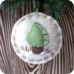 Ready to Ship - Fairy Forest Snow Mushroom - Felt Christmas Ornament. $10.50, via Etsy.