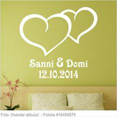 Wandtattoo Hochzeit - romantische Herzen