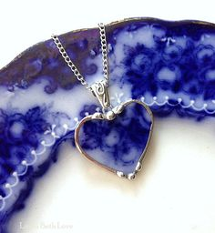 Broken china necklace heart pendant Antique flow blue roses broken china jewelry 100 year old china