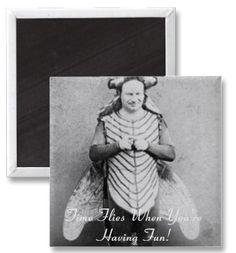 Time Sure Does Fly! #humor, #design #magnet #vintage #funny