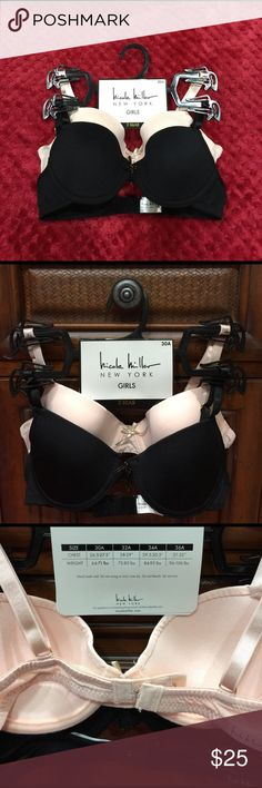 😱😍👙! ( NWT ) 2 BRAS SIZE 30A BY NICOLE MILLER 😱😍👙! (NWT) SET OF 2 BRAS BY NICOLE MILLER NEW YORK ❤️COMES WITH 2 COLORS 1 BLACK AND 1 CREAM❤️ ALSO IT CAN BE USED FOR GIRLS AND YOUNG LADIES ❤️ IT IS SIZE 30A . 🤑🤑🤑 NICOLE MILLER NEW YORK Intimates & Sleepwear Bras