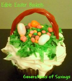 Edible Easter Baskets - Easter Crafts for Kids - Generations of Savings http://generationsofsavings.com/2012/04/edible-easter-baskets-fun-easy-kids-recipe.html
