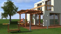 Premier essai ArchiCAD et Artlantis - Maison contemporaine à toit plat Pergola, Outdoor Structures, Architecture, Flat Roof, Beginning Sounds, Contemporary, Atelier, Home, Arquitetura