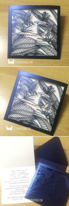 Tropical Bird of Paradise Wedding Invitations,Laser Cut Birds Pocket Wedding Invitations