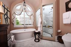 Master Bath by Chad Graci, Graci Interiors LLC, featuring St. George Freestanding Soaking Tub, Transitional Floor Mounted Bathtub Faucet with Randall Lever Handles, Spalet Toilet and Randall Robe Hook. Transitional Living Rooms, Transitional Kitchen, Transitional Decor, Staircase Molding, Modern Home Interior Design, Beautiful Bathrooms, Foyer, Interior Decorating, Ideas
