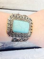 Rectangle Shaped Turquoise Stone and Silvertone Cuff Bracelet