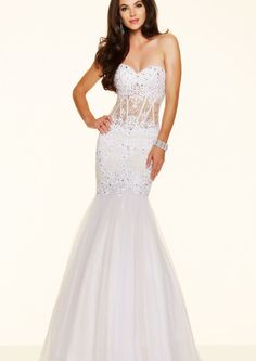 2016 Sweetheart Nude Appliques Beading White Tulle Floor Length Mermaid Evening / Prom Dresses 01271310