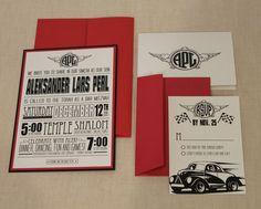 Hot Rod Car Theme Bar Mitzvah Invitation
